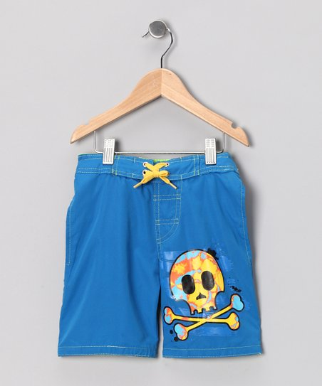 Blue Pirate Skull Swim Trunks - Boys