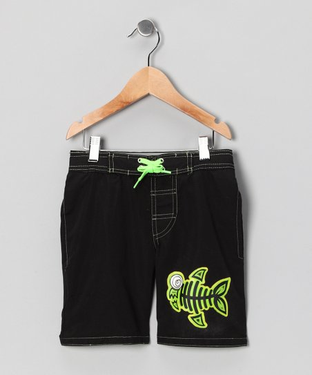 Black & Green Glow Fish Swim Trunks - Boys