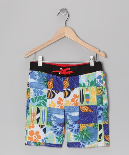 Blue & Orange Hawaiian Patchwork Swim Trunks - Boys