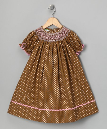 Brown & Pink Bishop Dress - Infant, Toddler & Girls