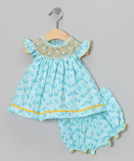 Candyland Blue Daisy Angel-Sleeve Top & Bloomers - Infant