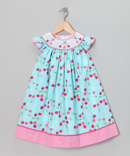 Blue Cherry Angel-Sleeve Dress - Girls