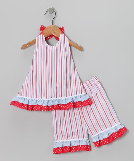 Red Whale Stripe Halter Top & Shorts - Infant