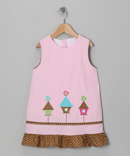 Pink Birdhouse Corduroy Jumper - Infant, Toddler & Girls
