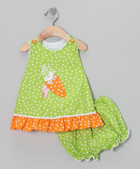 Candyland Green Carrot Swing Jumper & Bloomers