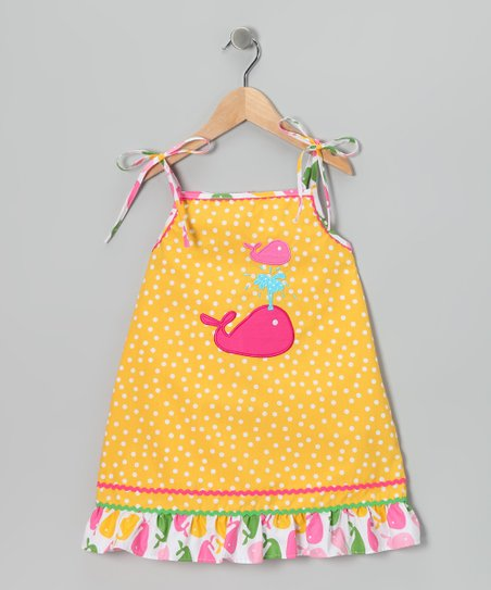 Yellow Whale Tie Dress - Infant, Toddler & Girls