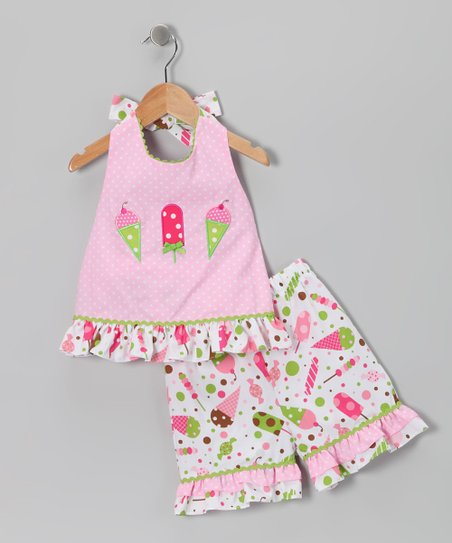 Pink Ice Cream Halter Top & Shorts - Infant