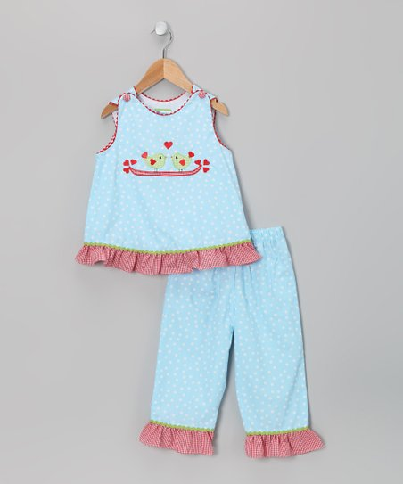 Blue Love Birds Top & Pants - Infant, Toddler & Girls