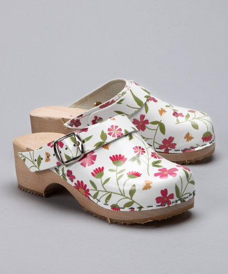 White Flower Garden Clog