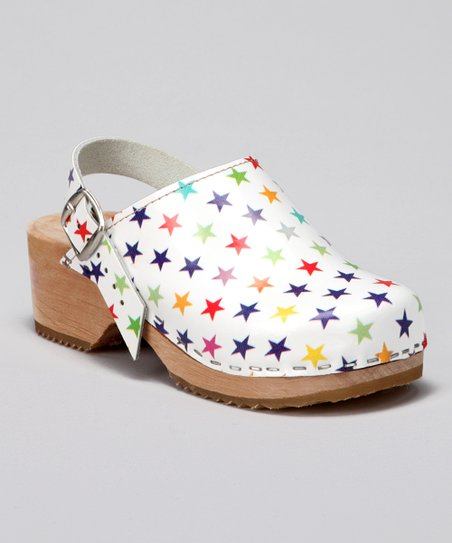 White Rainbow Star Clog
