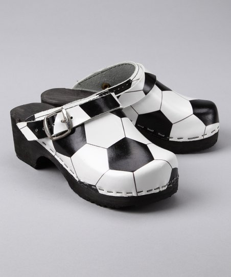 Cape Clogs Black & White Soccer Clog - Kids