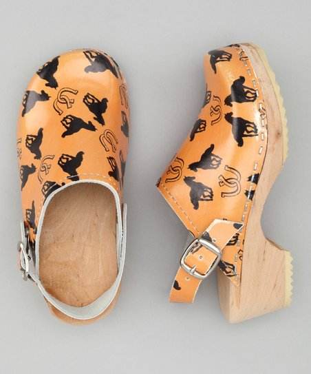 Orange & Black Horse Clog