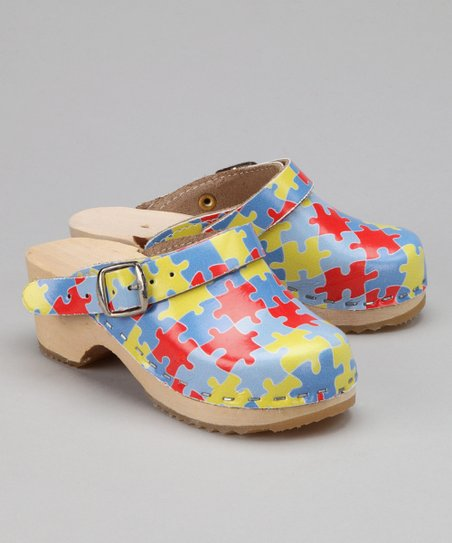 Red & Yellow Puzzle Clog - Kids