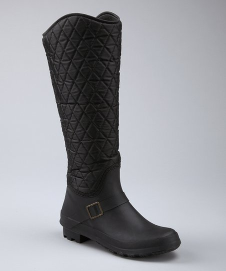 Black Quilted Buckle Boot