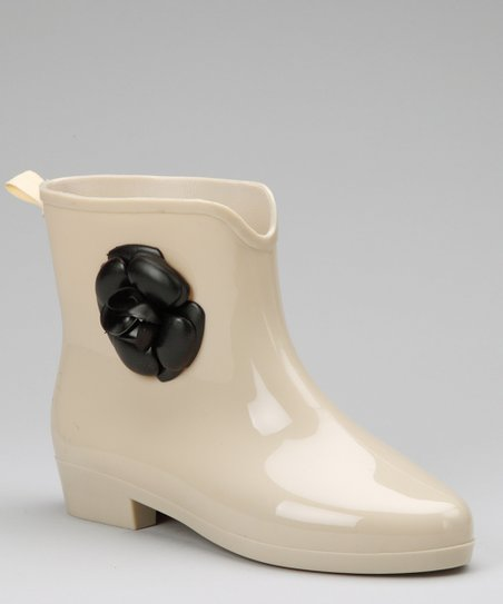 Nude & Black Flower Mademoiselle Rain Boot
