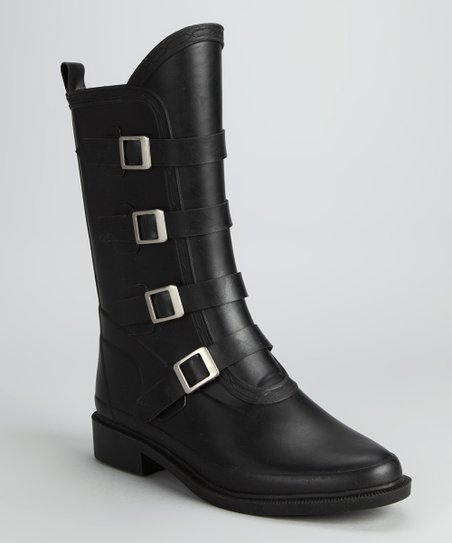 Black Buckle Rain Boot
