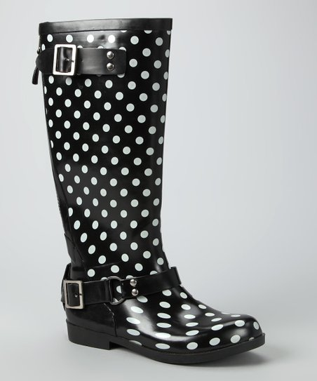 Black & White Polka Dot Buckle Rain Boot