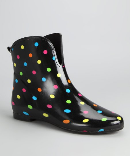 Black Polka Dot Short Rain Boot