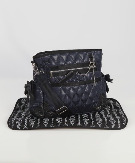Navy The Truffle Bow Diaper Bag