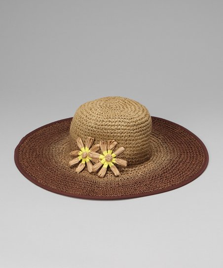 Beige Ombre Flower Crocheted Sunhat