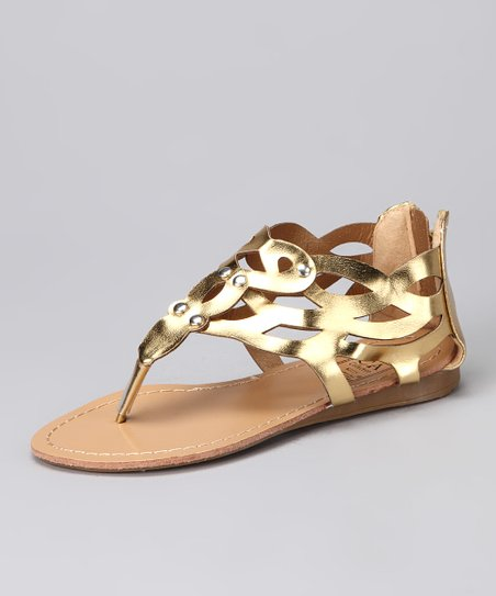 Gold Zipper Sandal