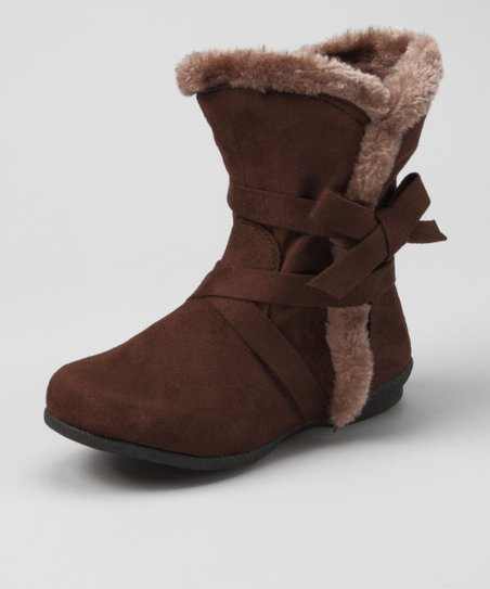 Brown Bow Fuzzy Boot