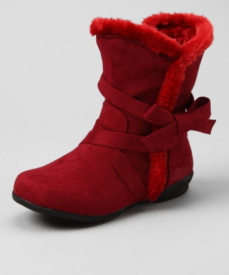 Dark Red Bow Fuzzy Boot