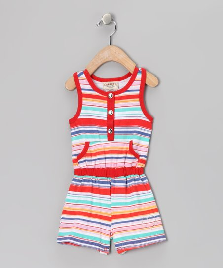 Coral Stripe Romper - Infant