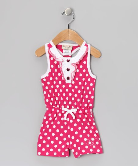 Fuchsia Polka Dot Romper - Toddler