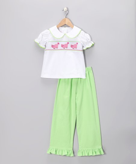 White Piggy Top &amp; Lime Pants - Toddler &amp; Girls