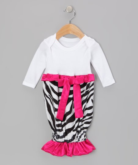 White & Red Zebra Ruffle Ribbon Gown