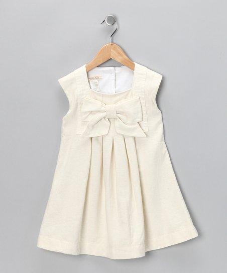 Ivory Harp Linen-Blend Dress – Toddler