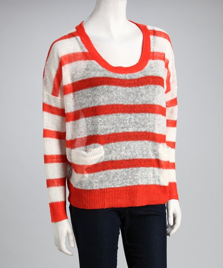 Orange & White Stripe Crew-Neck Sweater