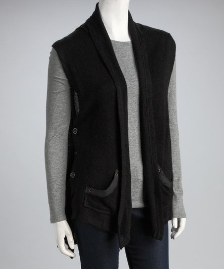 Black Grommet Button Vest