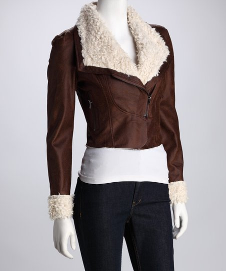 Brown Faux Leather Cropped Jacket