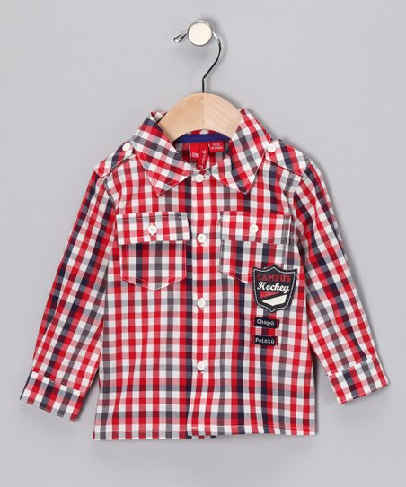 Red Formula One Plaid Button-Up - Infant & Toddler