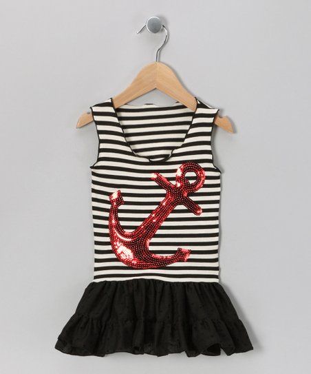Charla's Place Black Anchor Dress - Toddler & Girls