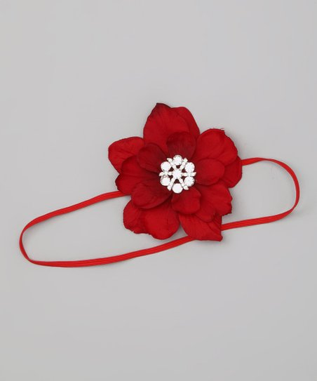 Charlotte Rose Couture Red Rhinestone Flower Headband