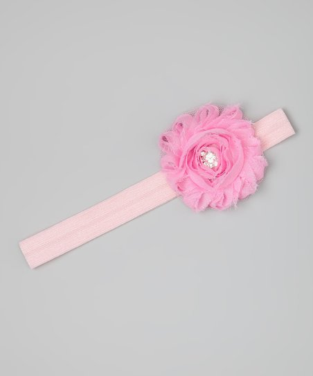 Light Pink Rhinestone Flower Headband