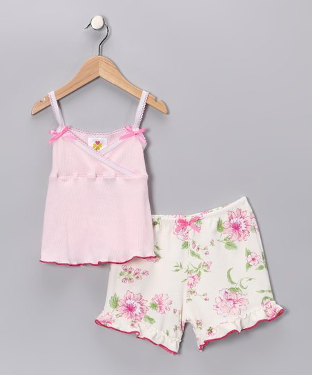 Pretty Peony Surplice Tank & Shorts - Toddler