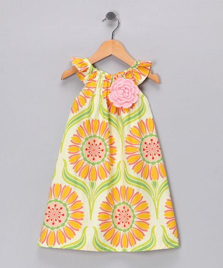Ivory & Orange Floral Dress - Infant, Toddler & Girls
