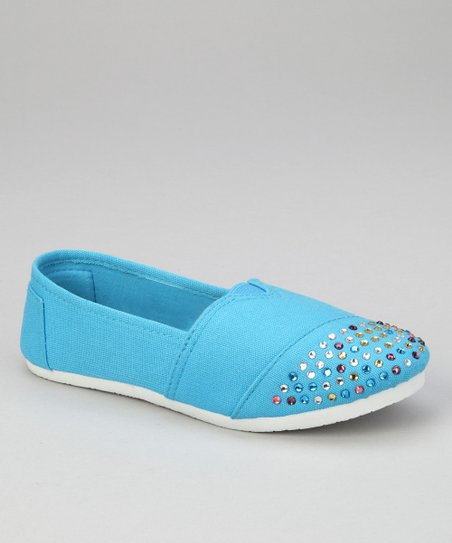Turquoise Rhinestone Slip-On Shoe