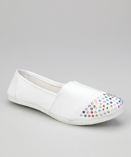 White Rhinestone Slip-On Shoe