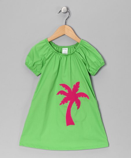 Green Palm Tree Swing Dress - Toddler & Girls
