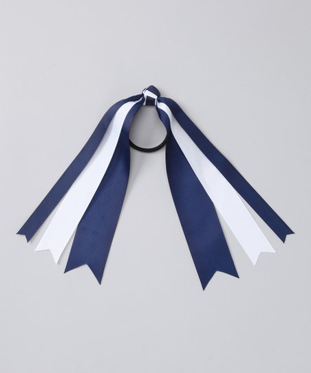 Navy & White Streamer Hair Tie