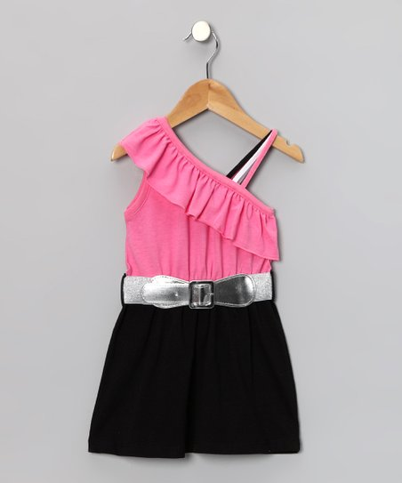 Black Ruffle Belted Asymmetrical Dress - Toddler & Girls