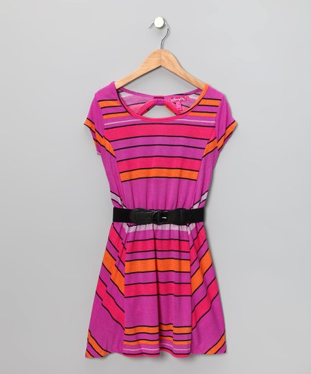 Amethyst & Orange Stripe Belted Dress - Girls