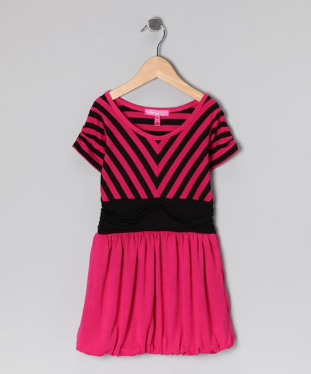 Pink Stripe Bubble Dress - Girls