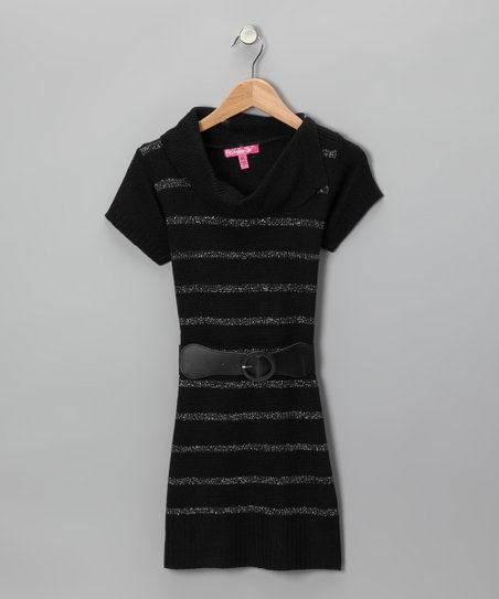 Cherry Stix Black Split Neck Sweater Dress & Belt - Toddler