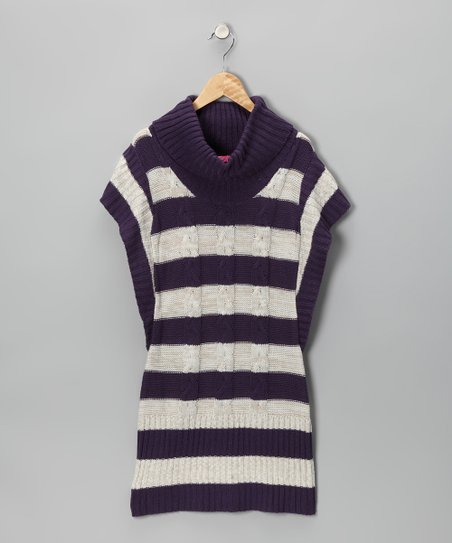 Cherry Stix Eggplant Stripe Sweater Dress - Girls